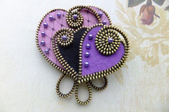 MsLolaCreates .Purple Hearts Felt Zipper Brooch for Coat Jacket Hat via Etsy