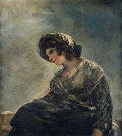 """Goya 1825-1827, """"La lechera de Burdeos"""" (Neoclásico). Aquí Goya nos muestra una vez más que es un genio y la capacidad que tiene para adelantarse a los tiempos, la luz y el color que usa en este cuadro es de donde partirá el impresionismo. He elegido esta obra porque Goya a través de esta pintura está mostrando su estado de ánimo."""