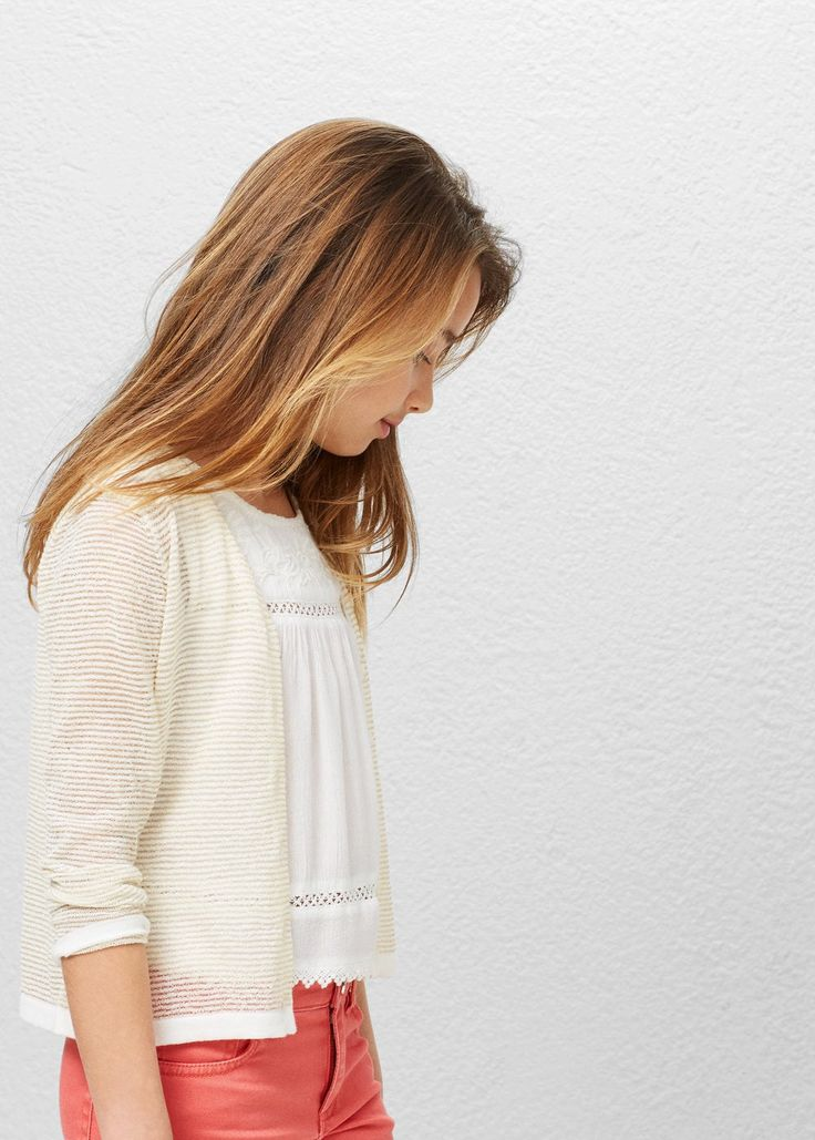 Metallic cotton-blend cardigan | MANGO KIDS
