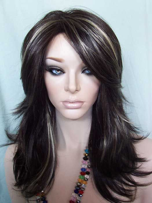 highlight hair style nirvana tarah wig in brown highlighted with golden 1805
