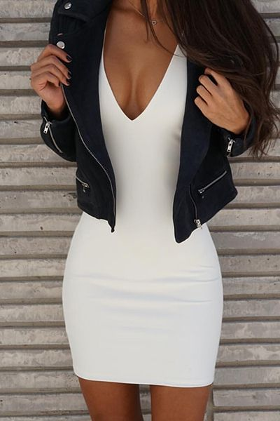 Sexy V Neck Sleeveless Backless White Polyester Sheath Mini…
