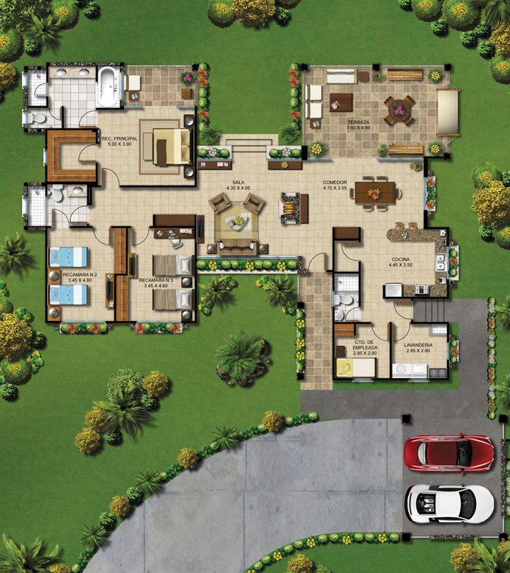 M s de 25 ideas incre bles sobre planos de casas de campo for Planos de casas con piscina y jardin