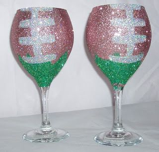 Bling Football Wine Glasses Cute Diy Perfect For Tailgating We