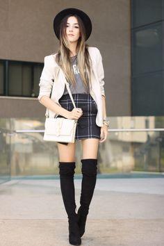FashionCoolture - 14.03.2016 look du jour over knee boots black plaid skirt (1)