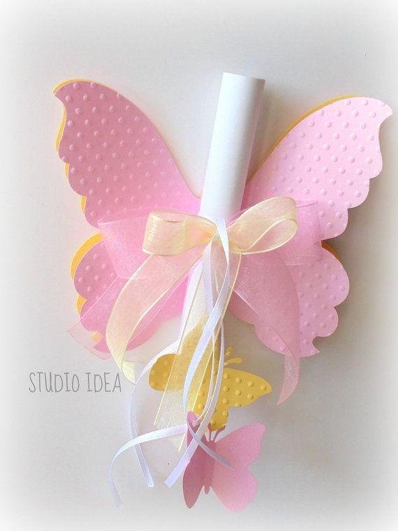 Convite feito sob encomenda do bebê da borboleta chuveiro aniversário por StudioIdea