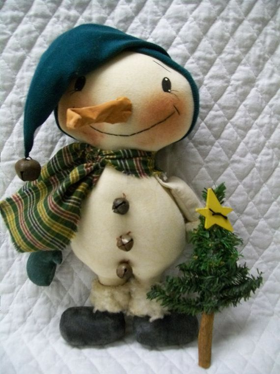 Primitive Cute Little Winter Snowman with by yellowsweetpotato, $18.95