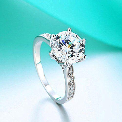 Argento massiccio 925, 3 kt, con diamante sintetico anelli di fidanzamento, Argento, 19, colore: bianco, cod. UFR8228: Amazon.it: Gioielli