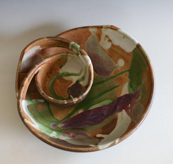 Chip en Dip, handgemaakt keramiek schotel, keramiek en aardewerk, aardewerk kom, wiel gegooid kom, steengoedkom