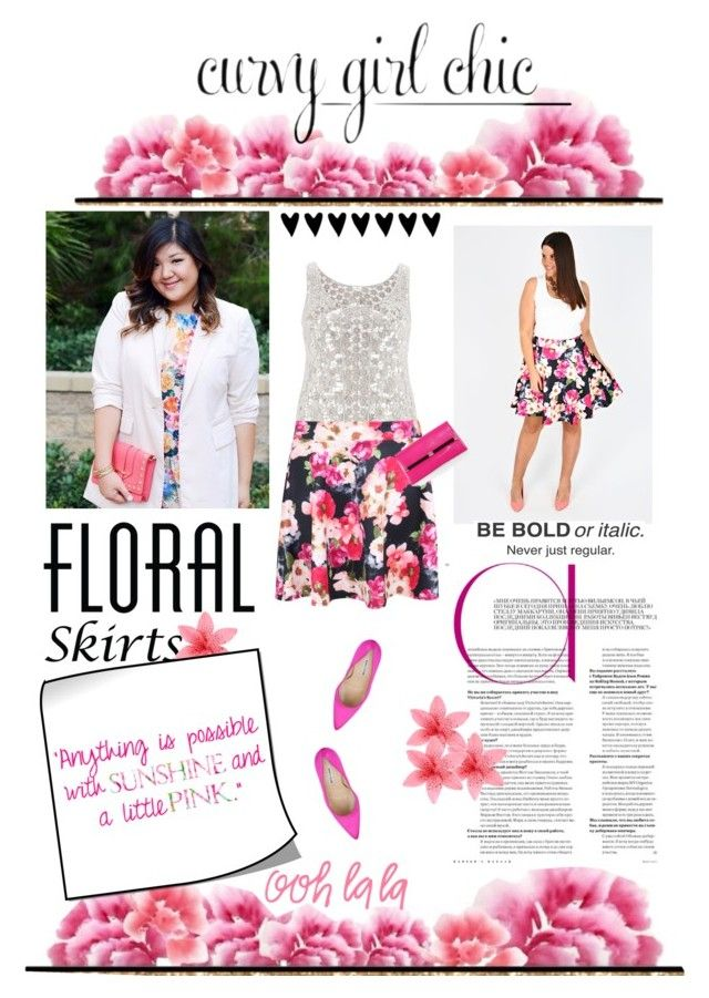 """""""Floral Skirts with Curvy Girl Chic"""" by ladylly ❤ liked on Polyvore featuring maurices, Manolo Blahnik, Bellagio, Diane Von Furstenberg, Lilly Pulitzer, contestentry and PVCurvyChic"""