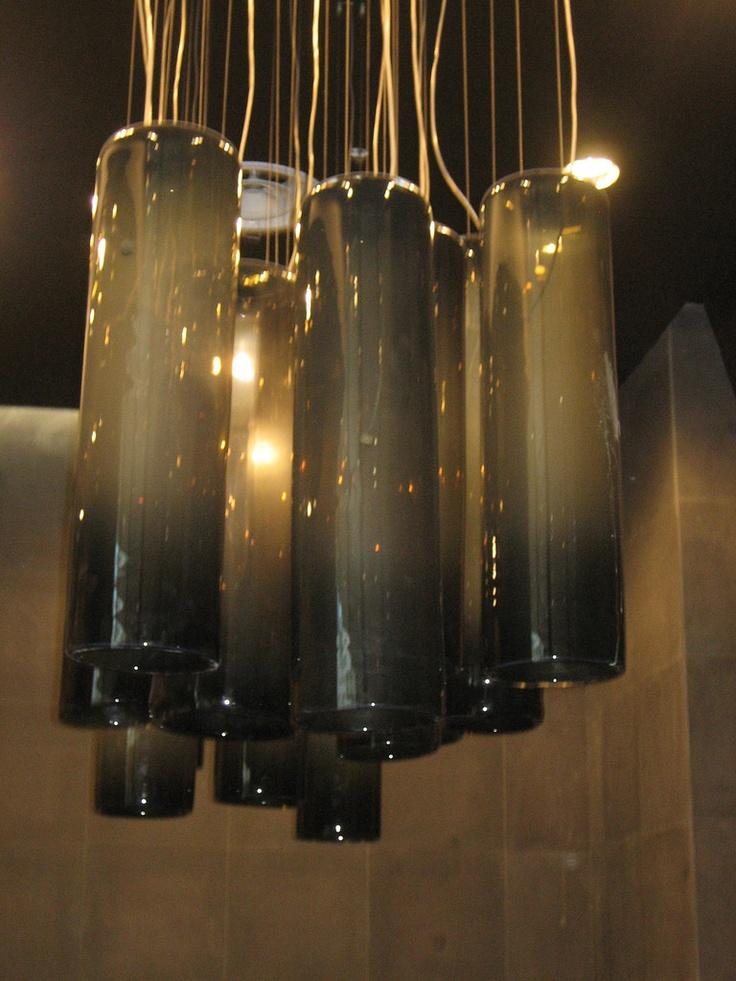 Detail shot of the Arthur Galan Ag Men's Clothing at Doncaster. Custom black tube chandelier.