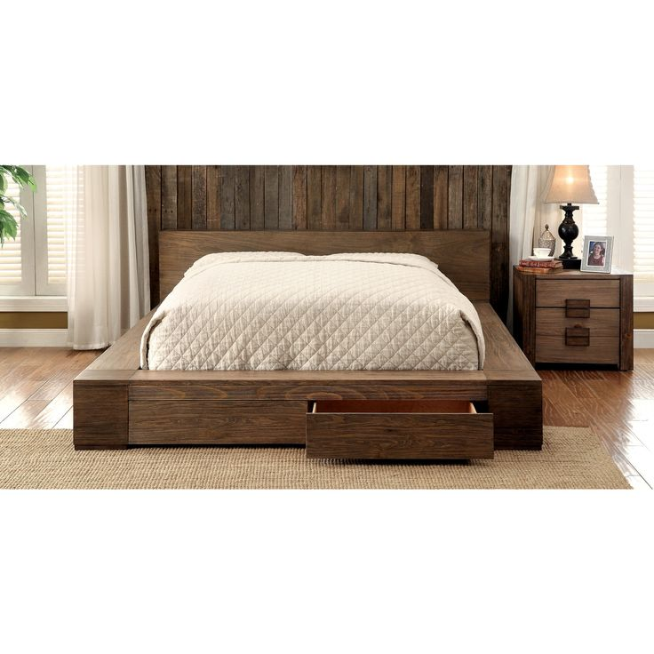 Low Bed With Storage Part - 17: Moline II Transitional Low Profile California King Storage Platform Bed In  Rustic Natural Tone