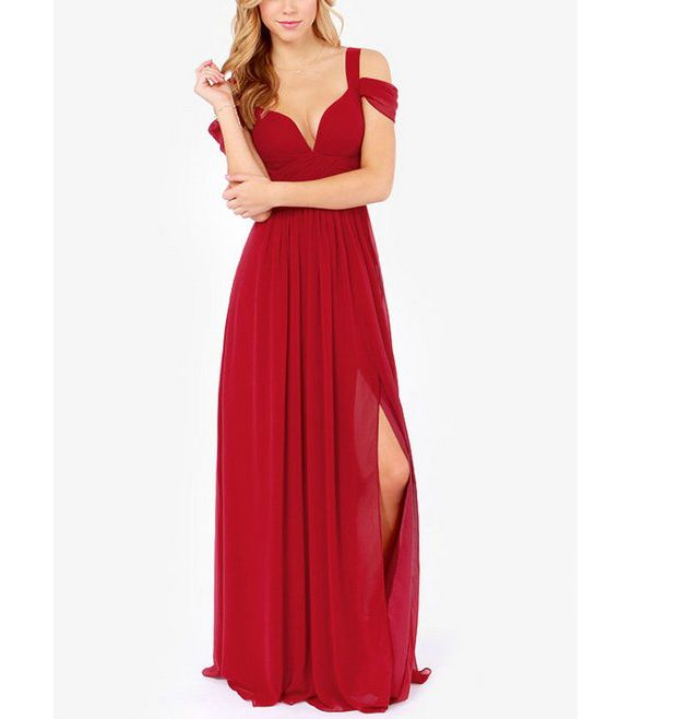"Off the shoulder Sweetheart bust V-neckline Slit Long, maxi style  Available Colors: Red/Purple/Blue/Mint Green Material: Chiffon Occasion: Prom/Homecoming/Ball/Wedding  (XS) Bust: 29.92"" Length: 53.54""  (S)  Bust: 31.49"" Length: 54.33""  (M) Bust: 33.07"" Length: 55.11""  (L) ..."