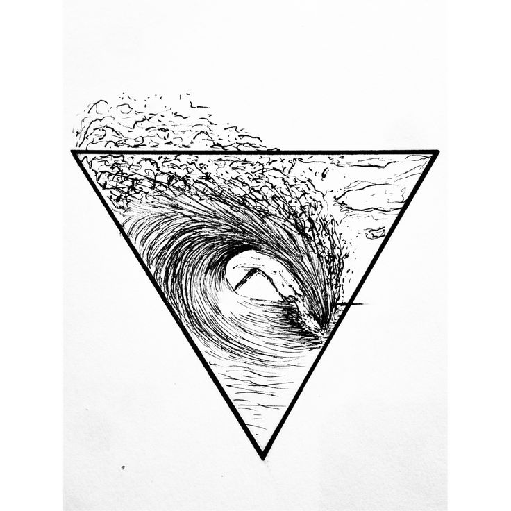 Surf Tattoo. California. Surfer soul. Geometric. Triangle. Wave.
