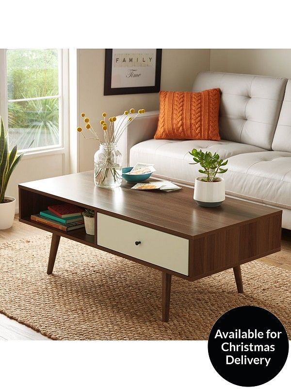 Ideal Home Monty 1 Drawer Retro Coffee Table In Walnut Effect And Whitethe Fabulous Fifties Are Back At The Forefront Of Fashions This Cof