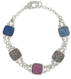 Judith Ripka As Is Drusy Quartz Multi- Color Sterling Toggle Bracelet