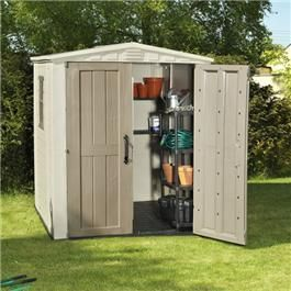 Our 6 x 6 plastic sheds and storage buildings feature plastic floor panels to ensure that you always have a firm, steady, and dry floor. A sophisticated ventilation system ensures that you can breathe easily while pests are prevented from entering. The Keter range of plastic sheds and storage buildings includes a wide range of solutions for all your storage needs.