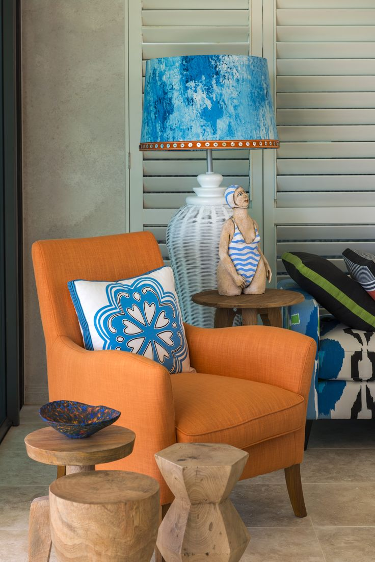 Armchair, daybed and custom made lamp shade all featured in Designers Guild fabric.