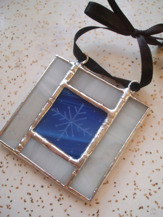 Stained Glass Snowflake Christmas Ornament - draw with white paint pen snowflake on blue glass