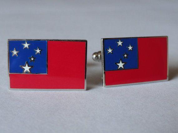 Samoan Flag Cufflinks by LoudCufflinks on Etsy, $25.00