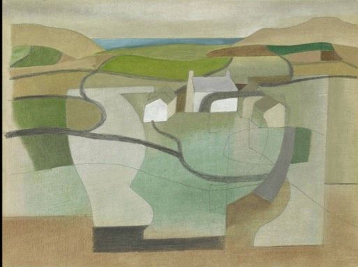 Landscape painting by Ben Nicholson--exquisite use of different greens