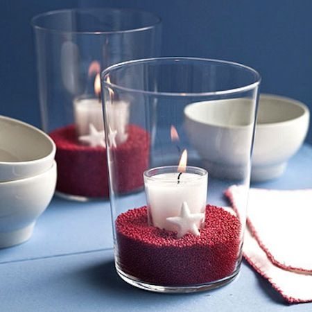 Candles in a Glass -- centerpiece idea for July 4th.