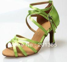 Professional Green Satin mode chaussures de danse latine salle de bal chaussures de danse Salsa chaussures de danse sandales(China (Mainland))