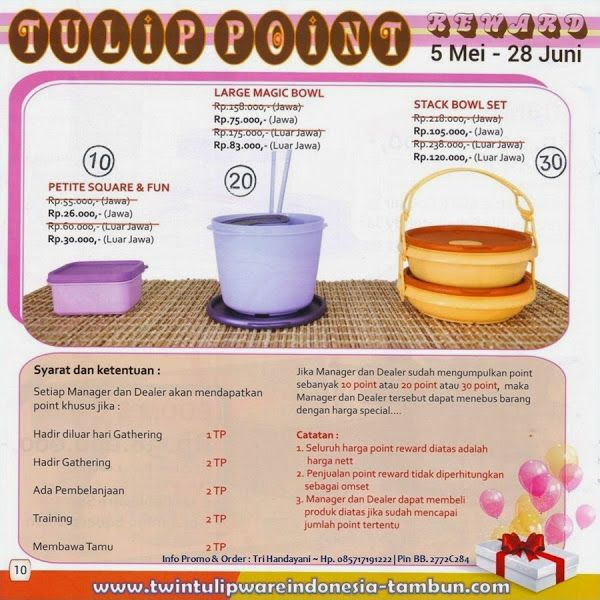 Point Reward Twin #Tulipware | Mei - Juni 2014