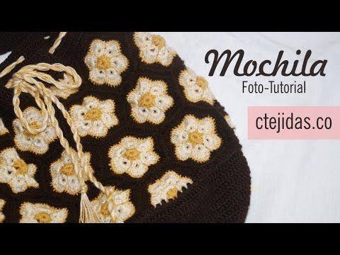 Tutorial #100: Mochila con Flores Africana - Paso a Paso | CTejidas [Crochet y Dos Agujas]