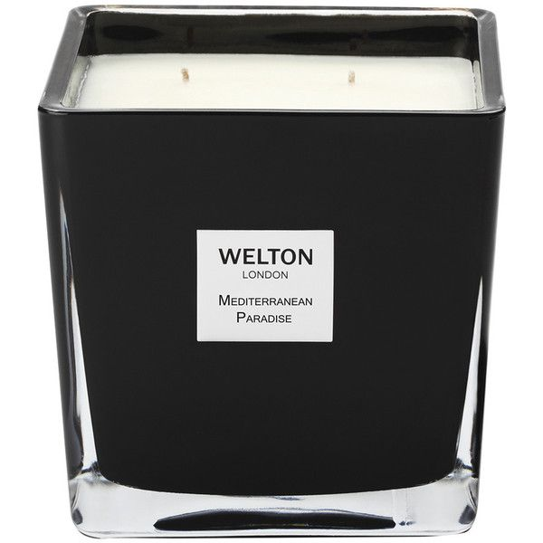 Welton London Scented Candle - Mediterranean Paradise - 1.2kg (160 AUD) ❤ liked on Polyvore featuring home, home decor, candles & candleholders, black, fig candle, mediterranean home decor, mediterranean fig candle, black jar and black glass jar
