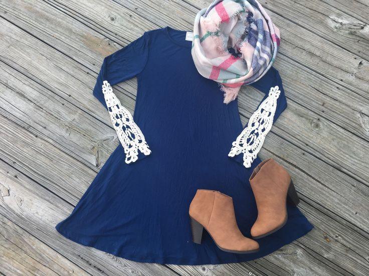 Navy Crochet Sleeve Dress