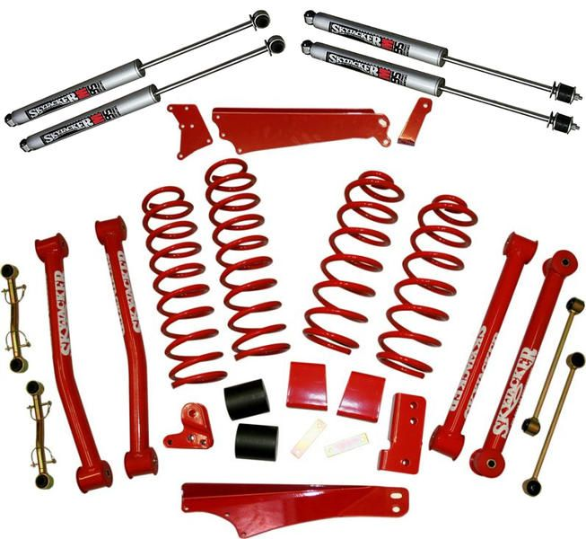 "Skyjacker 4"" Standard Lift Kit with M95 Performance Shocks in Classic Red for 07-16 Jeep® Wrangler Unlimited JK 4 Door 