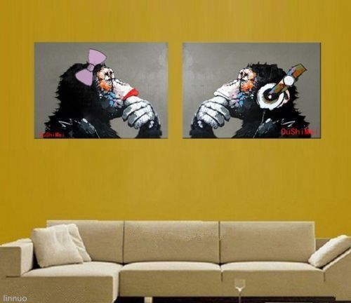 MODERN ABSTRACT LARGE WALL CANVAS OIL PAINTING:happy monkeys(no framed)