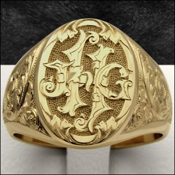 Custom Hand Engraved Luxury Signet Rings Metal Working