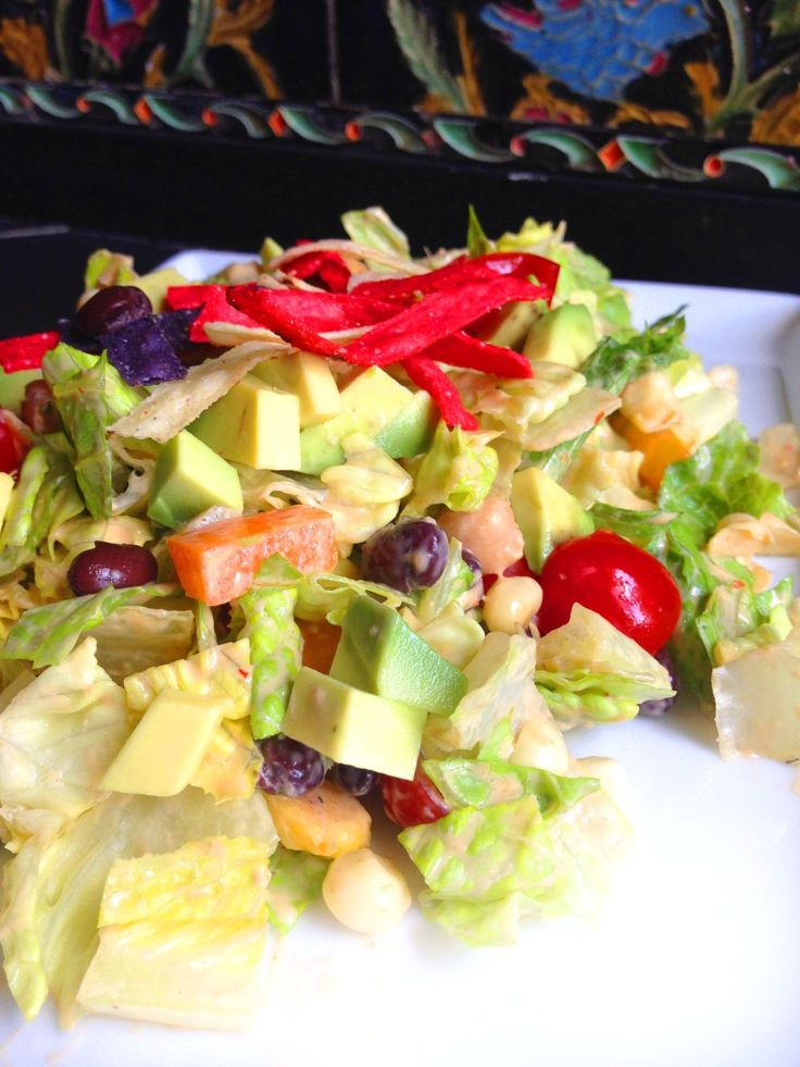 Southwestern Salad with Spicy Chipotle Avocado Ranch Dressing (Vegan)