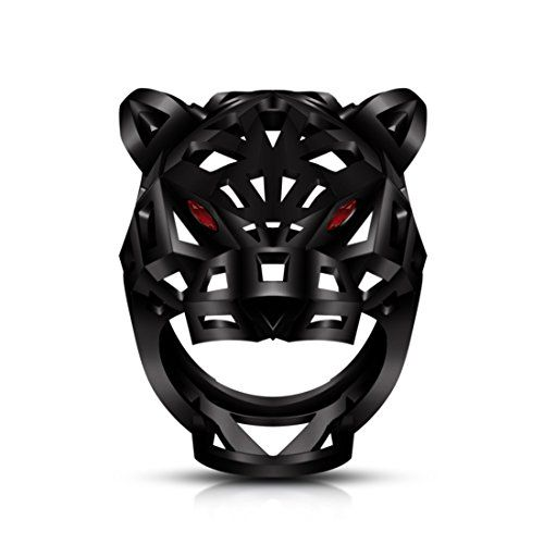 Vorra Fashion Animal Jewelry Black Rhodium Plated 925 Silver Rd Garnet Unique Leopard Panther Men's Ring