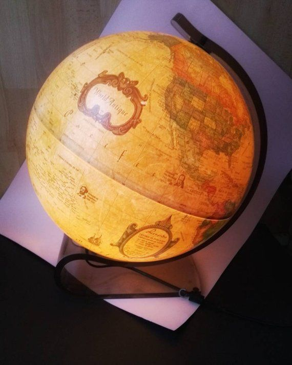 Vintage World Globe Light Scan Globe Large Table Lamp