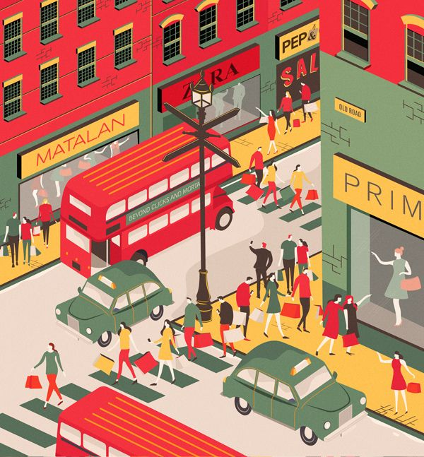 A recent editorial illustration for Drapers Magazine. An illustration was needed to accompany the feature on the increase of value fashion retailers on the high-street.