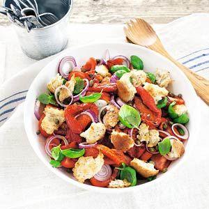 8 april - rode paprika in de bonus - Recept - Paprika-broodsalade - Allerhande