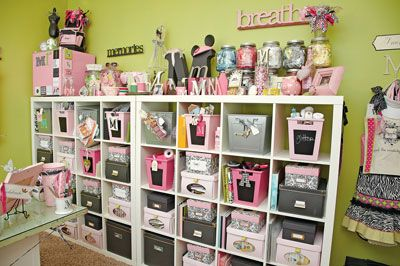 Love this idea!!! We get the cheap cubbies from Target or Lowes and use these in the closet under the stairs for ALL the girls crafts, they each have their own row of cubbies!! Also use them in all the girls bedroom closets!!