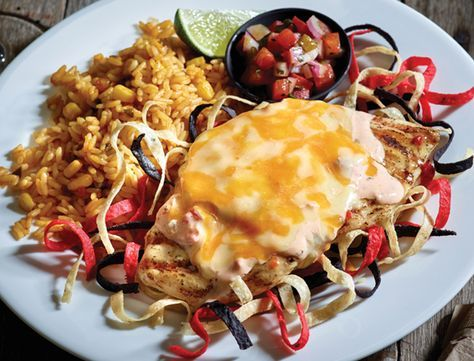 {Applebee's(™) Signature Fiesta Lime Chicken} Applebee's Fiesta Lime Chicken has been a signature dish on their menu for as long as I can remember.  This tasty dish consists of marinated grilled chicken breasts topped with a Mexi-ranch sauce, fresh Pico de Gallo and Colby-Jack cheese.  So many wonderful flavors come together in this recipe to create a truly perfect dish.  Serve with rice and beans on the side if you like.