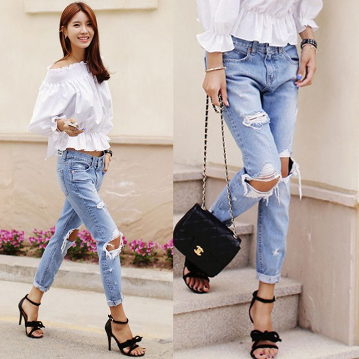 2015 Spring Summer New Korean Style Fashion Denim Jeans Women Loose Low Waist Big Hole Ripped Jeans Long Pencil Pant