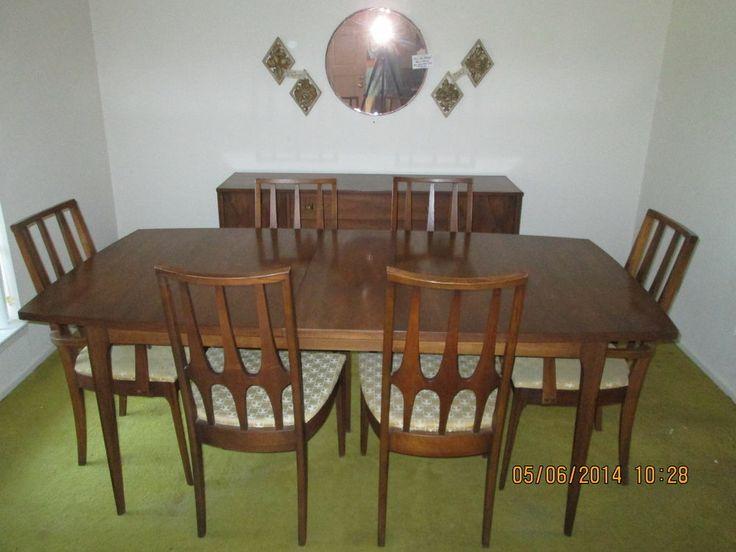 BROYHILL BRASILIA Mid Century Modern 10 Piece Dining Room Buffet Set