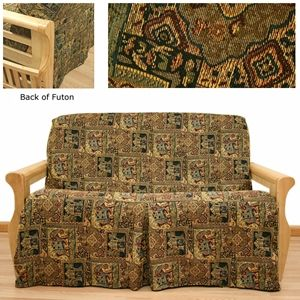 Bombay skirted futon cover offers mesmerizing Asian tapestry in wonderful color scheme. Depicting elephants, temples, etc. This great cover lets you escape to far away land without great expense. #skirted #futoncovers