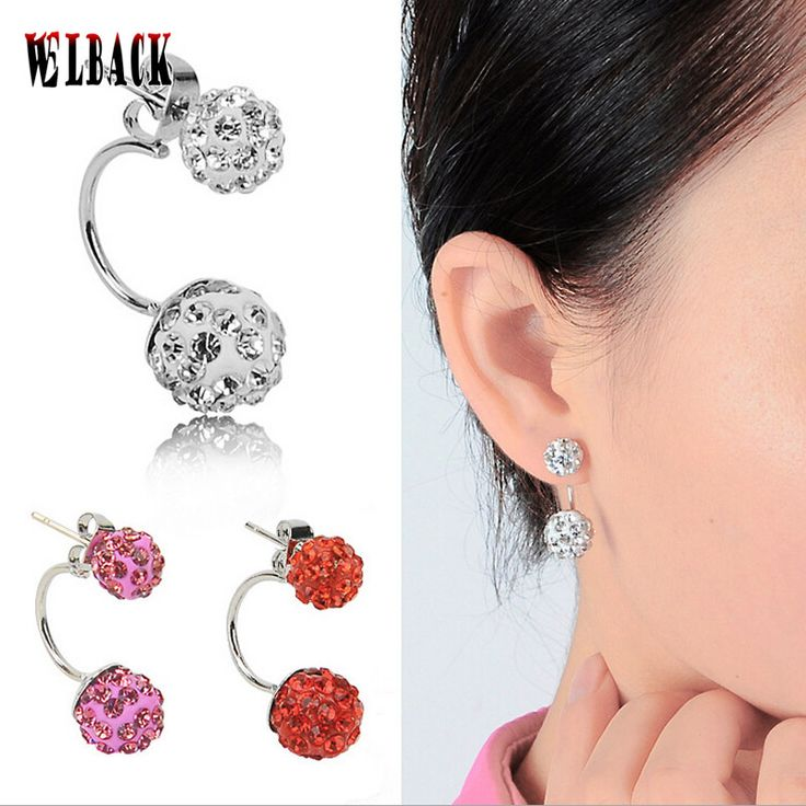 Aliexpress  pop explosion shambhala drill the ball earrings Hang up after drilling clay double ball earrings for women