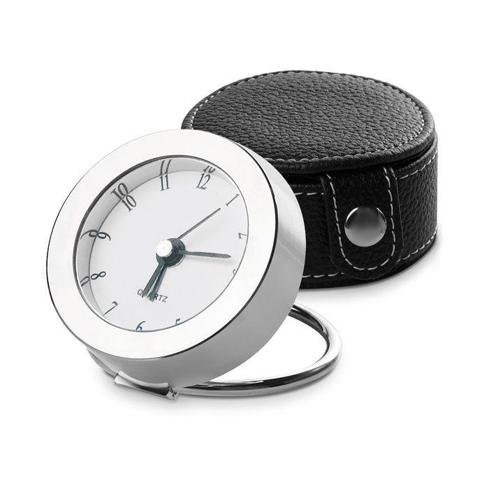 Orologio analogico da tavolo o da viaggio in metallo con astuccio. Personalizzalo con la data del tuo evento su Ibiscus Gadget
