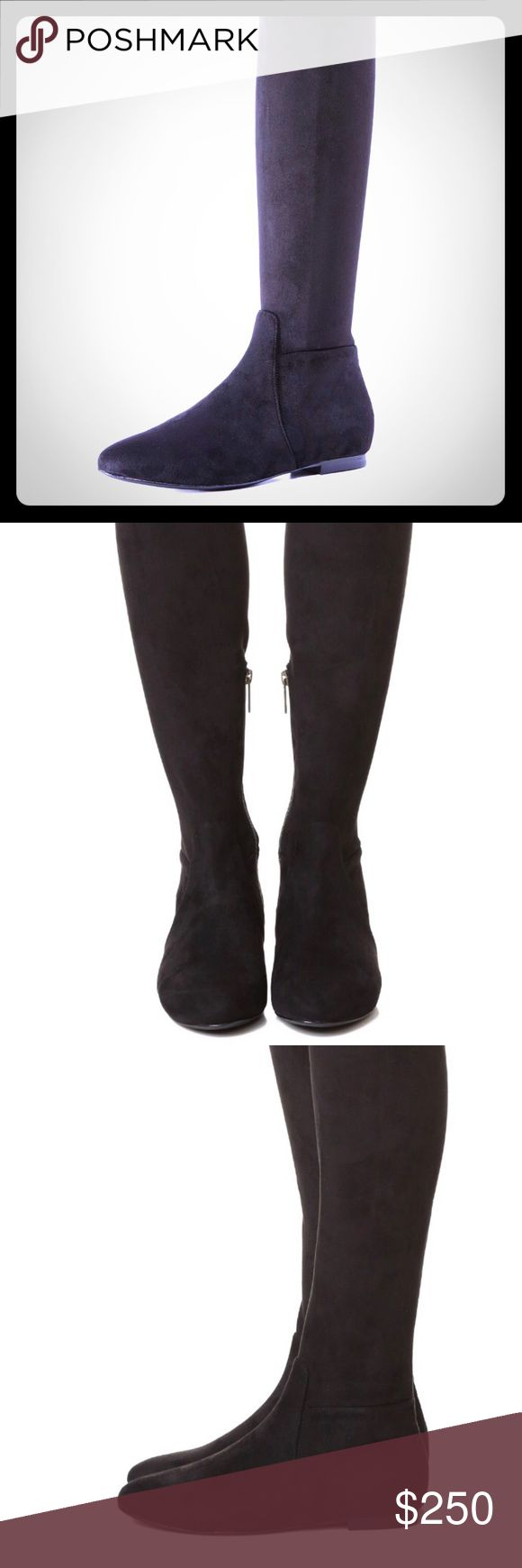 Joie 'Hayleigh' Boots in Black 8.5 Brand New, never worn sophisticated over-the-knee style in soft stretch suede. Inside side zip. Low, stacked heel and leather sole. Joie Shoes Over the Knee Boots