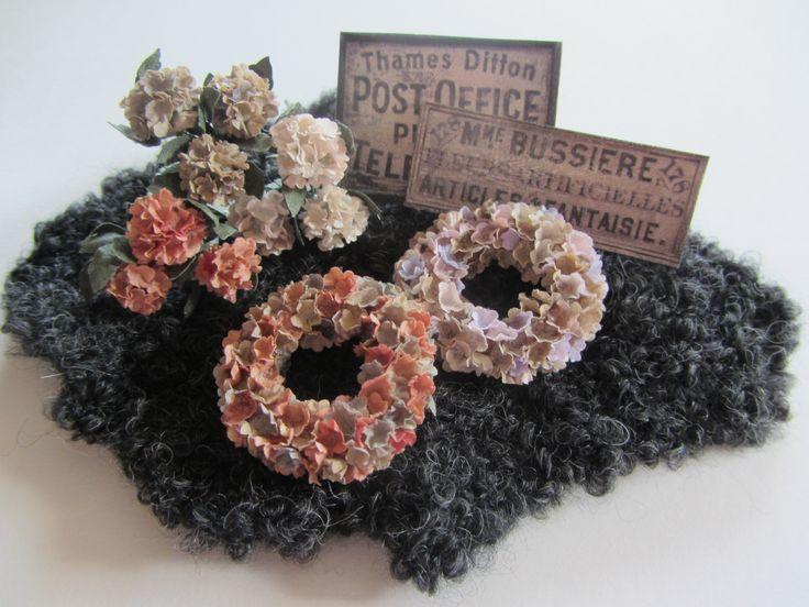 My Hydrangeas and hydrangea wreaths on one of my sheepskin
