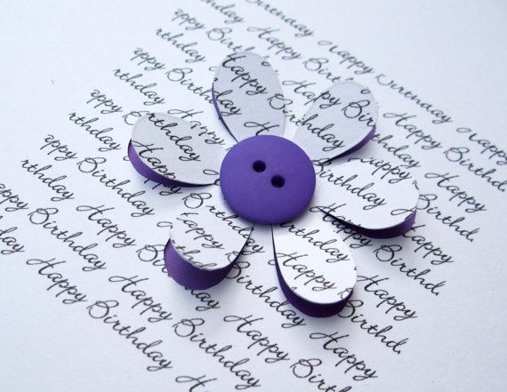 Birthday Card with Button Flower  Personalised Card by Nikelcards, £3.60