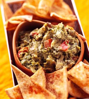 Hot Spinach Artichoke Dip - Add sweet red pepper for extra color and ...