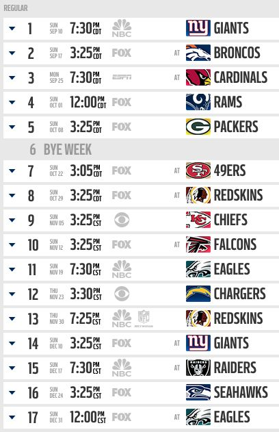 2017 Season To Open At Home In Primetime vs. Giants; Full Schedule Here | Dallas Cowboys